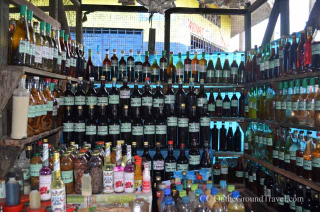 Homemade potions in Belen Market in Iquitos