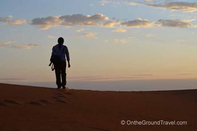 Walking on the Sand Dunes Sahara Morocco Travel