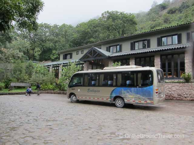 Machu Picchu bus outside the Sanctuary Lodge Peru Travel